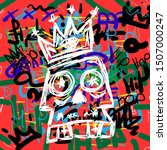 skull with crown on hip hop...   Shutterstock .eps vector #1507000247