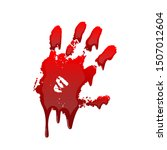 bloody hand print 3d isolated... | Shutterstock . vector #1507012604