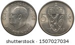 Norway Norwegian coin 5 five kronor 1967, head of King Olav V left, crowned royal shield with lion holding hatchet divides denomination, date below,