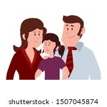 parents couple with daugether... | Shutterstock .eps vector #1507045874