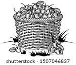 retro basket of cherries black... | Shutterstock .eps vector #1507046837