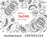 tacos cooking and ingredients... | Shutterstock .eps vector #1507051214