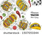 tacos cooking and ingredients... | Shutterstock .eps vector #1507053344