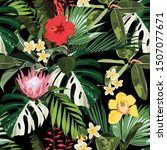 white exotic monstera and many... | Shutterstock .eps vector #1507077671