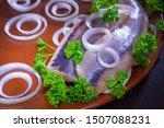 Stock photo pickled herring with green parsley and onions horizontal photo format 1507088231