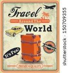 vintage travel poster with... | Shutterstock .eps vector #150709355