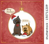 Vector Christmas greeting card with terrier dog