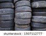 Stack Of Old Rubber Used Tires