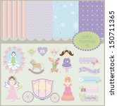 Princess baby background and pattern scrapbook collection