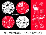 set of halloween patterns and...   Shutterstock .eps vector #1507129364