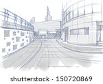 architectural sketch. buildings. | Shutterstock . vector #150720869