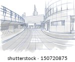 architectural sketch. buildings. | Shutterstock . vector #150720875