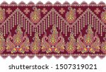 seamless paisley border on red... | Shutterstock . vector #1507319021