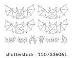 halloween bats doodle set...   Shutterstock .eps vector #1507336061