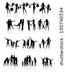 family silhouettes with shadow .... | Shutterstock .eps vector #150740534