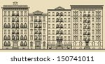 old building and facades of new ... | Shutterstock .eps vector #150741011