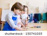 little children painting and... | Shutterstock . vector #150741035