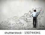 back view of businessman... | Shutterstock . vector #150744341