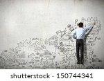 back view of businessman... | Shutterstock . vector #150744341