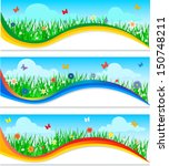 banners with colorful flowers... | Shutterstock .eps vector #150748211