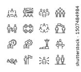 business people line icon set | Shutterstock .eps vector #1507484984