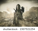 Small photo of man in gas mask says stop the destruction in the world. , post Apocalypse