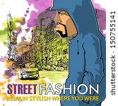 graffiti character on a street...   Shutterstock .eps vector #150755141