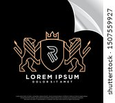 crest lion logo. mono line... | Shutterstock .eps vector #1507559927