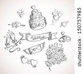 sketch of wedding design... | Shutterstock .eps vector #150757985