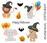halloween party set with cute... | Shutterstock .eps vector #1507618247