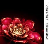 pink fractal flower with golden ... | Shutterstock . vector #150765014