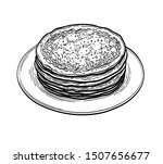 french crepes or russian blinis.... | Shutterstock .eps vector #1507656677