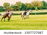 Stock photo horse race riding sport jockeys competition horses running watercolor painting illustration 1507727087