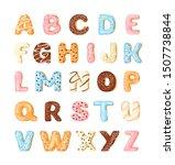 delicious cookies flat alphabet ... | Shutterstock .eps vector #1507738844