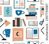 seamless pattern with books and ... | Shutterstock .eps vector #1507754087