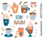 stay warm. hot drinks card ... | Shutterstock .eps vector #1507772441