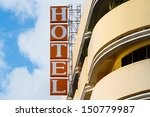 hotel sign  with blue sky. | Shutterstock . vector #150779987