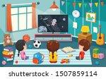 children watching television in ... | Shutterstock .eps vector #1507859114