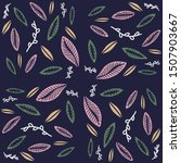 dark blue leaf pattern design... | Shutterstock . vector #1507903667