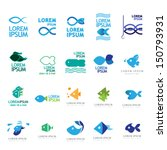 Fish Icons Set - Isolated On White Background - Vector Illustration, Graphic Design Editable For Your Design. Fish Logo - stock vector