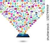 creative social media on tablet ... | Shutterstock . vector #150799949