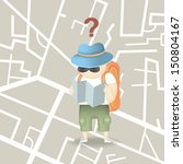 backpack tourist hold city map... | Shutterstock .eps vector #150804167