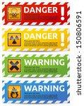 Danger Sign Banner With Warnin...