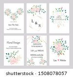 set of cards with roses leaves... | Shutterstock .eps vector #1508078057