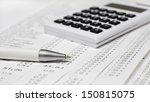 a calculator  a pen  bills ... | Shutterstock . vector #150815075