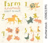 farm animals. learn to count... | Shutterstock .eps vector #150821591
