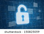 Open lock on digital background, security concept  - stock photo