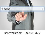 Businessman pushing virtual search bar on grey background, internet concept  - stock photo