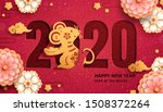 year of the mouse with paper... | Shutterstock .eps vector #1508372264