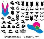 summer hats and bikini | Shutterstock .eps vector #150840794